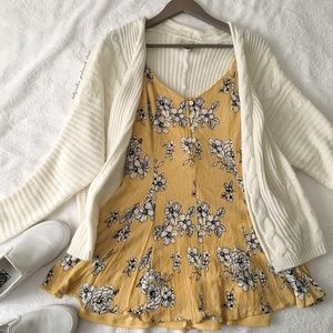 Yellow Striped Floral Print Mini Sundress